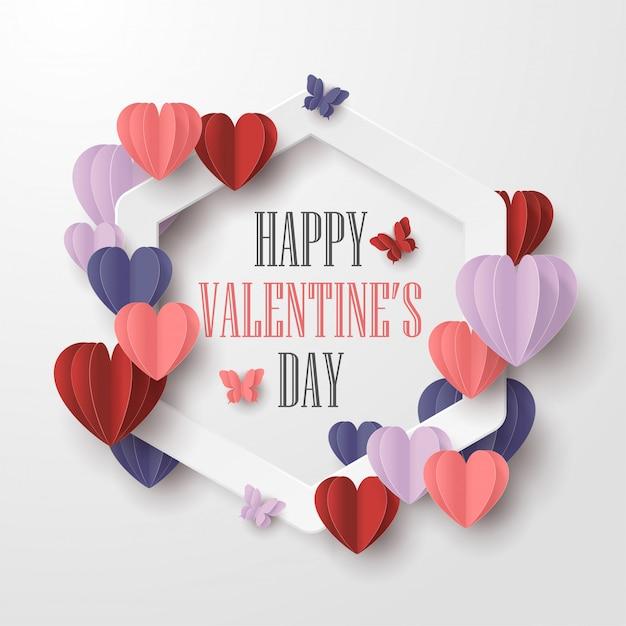 Happy Valentines Day Papier Coupé Style Avec Forme De Coeur Coloré Et Cadre Blanc Sur Fond Blanc Vecteur Premium