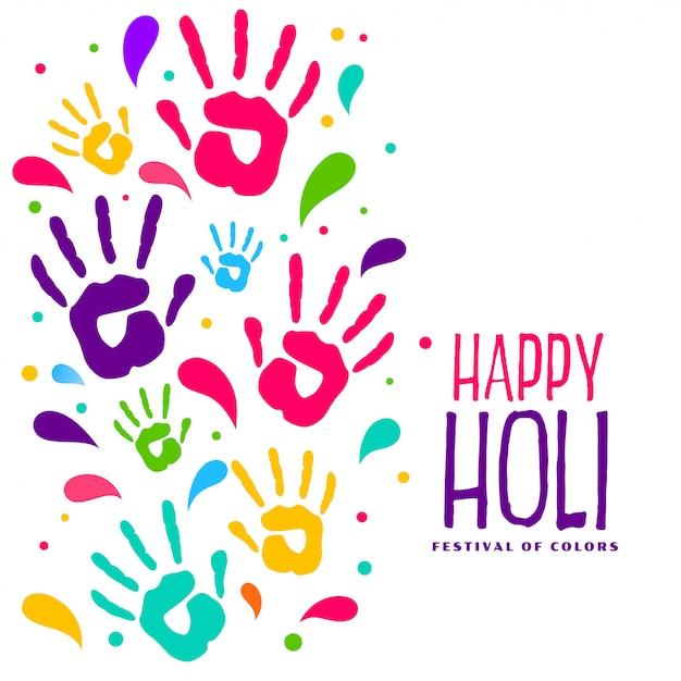 Hapy Holi Main Colorée Imprime Fond Vecteur gratuit