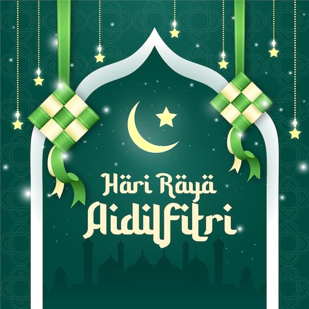 Hari Raya Aidilfitri Design De Publication Sur Les Médias Sociaux Vecteur Premium