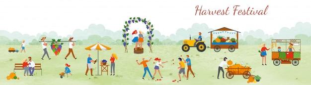 Harvest festival people célébrant le vecteur en plein air Vecteur Premium