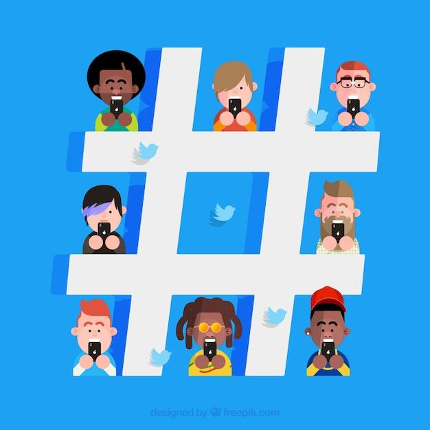 Hashtag fond avec des personnages Vecteur gratuit