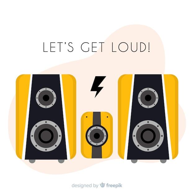 Haut-parleur design plat pour la musique Vecteur gratuit