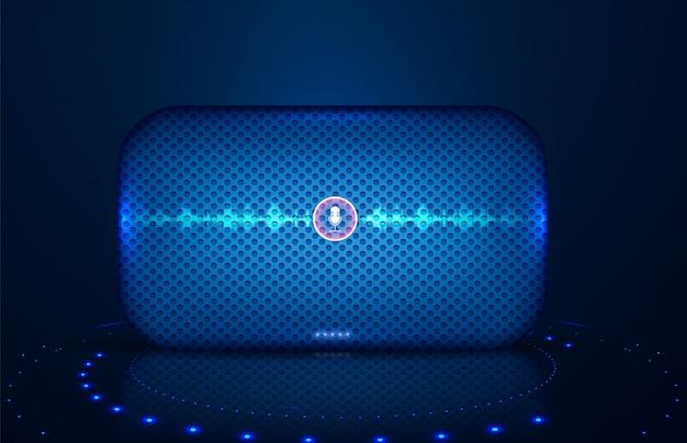 Haut-parleur intelligent avec commande vocale Vecteur Premium