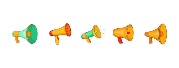 Haut-parleur main définie. ensemble de dessin animé des éléments vectoriels de main haut-parleur Vecteur Premium