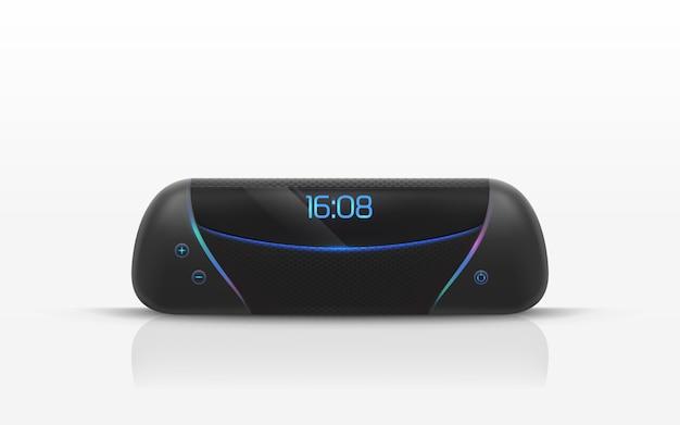 Haut-parleur portable avec illustration d'horloge radio numérique. Vecteur gratuit