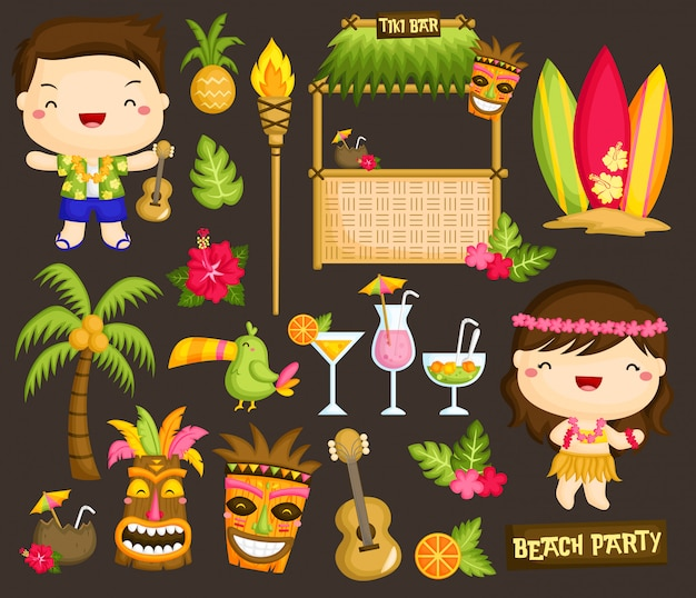Hawaii luau clipart Vecteur Premium