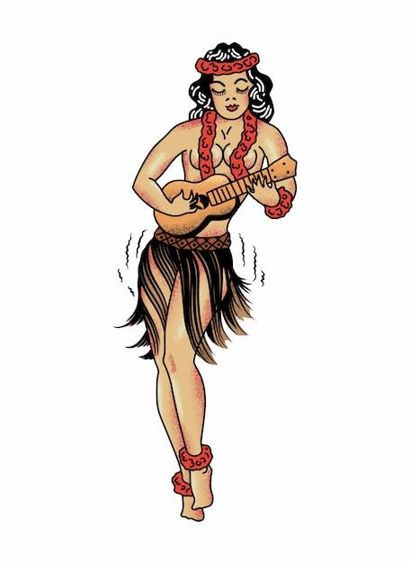 Hawaiian girl de sailor jerry Vecteur Premium