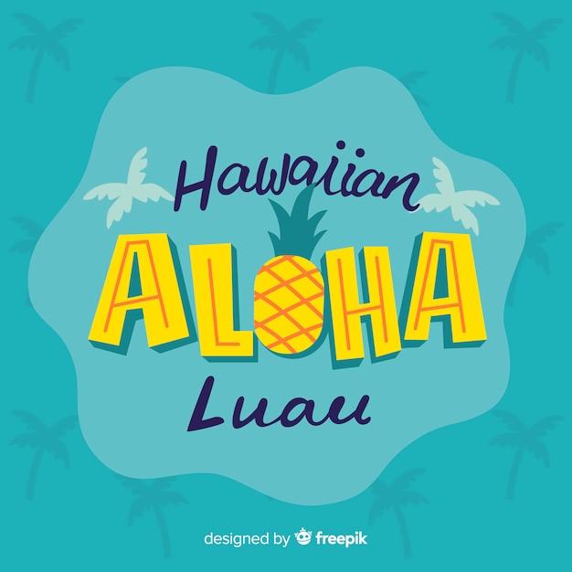 Hawaiian Luau Lettrage De Fond Vecteur gratuit