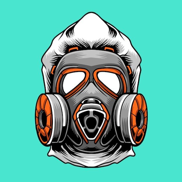 Hazmat Virus Mask Logo Premium Vecteur Premium