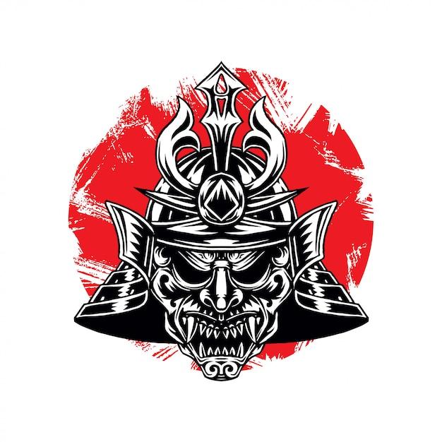 Heaume de guerre guerrier samouraï Vecteur Premium