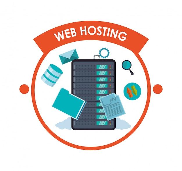 Hébergement web et conception de la sécurité des données Vecteur Premium