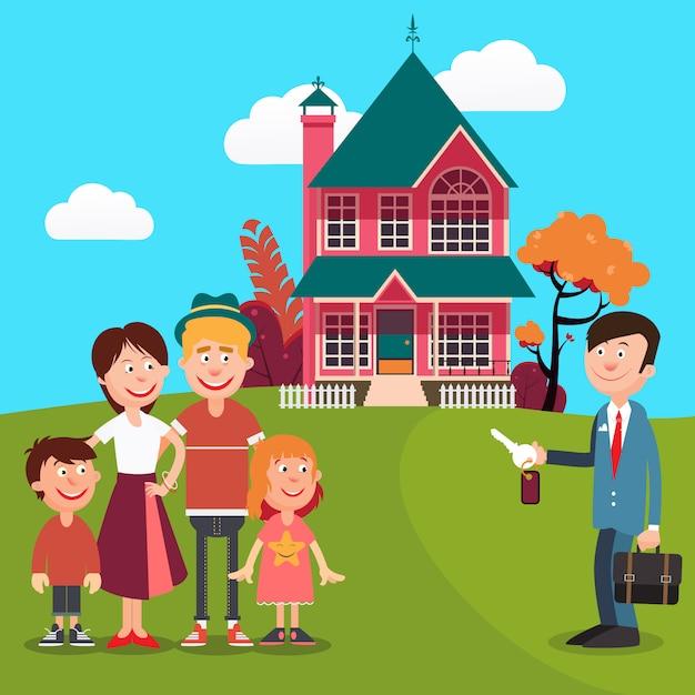 Héhé, achat d'une nouvelle maison. agent immobilier avec des clés de la maison. Vecteur Premium