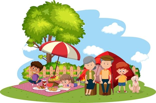 Héhé, Camping En Famille Dans Le Jardin Vecteur Premium