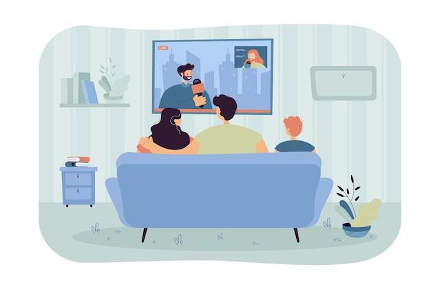 Héhé Avec Enfant Assis Sur Le Canapé Et Regarder Les Nouvelles Illustration Plat Isolé Vecteur gratuit