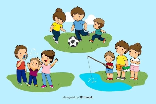 Héhé, faire des activités de plein air. conception de personnages Vecteur gratuit