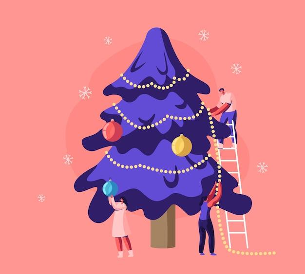 Héhé, Famille Ou Amis, Décoration De L'arbre De Noël Avec Des Guirlandes Et Des Boules Debout Sur Une échelle. Illustration Plate De Dessin Animé Vecteur Premium