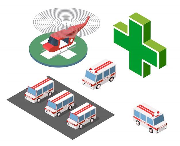 Hélicoptère ambulance et voiture Vecteur Premium
