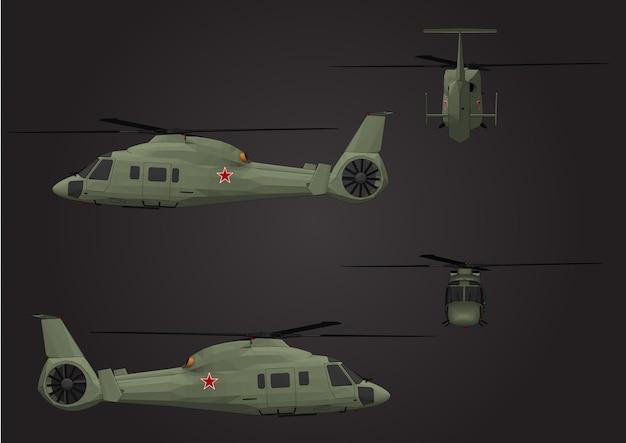 Hélicoptères de vecteur pour les soldats Vecteur Premium