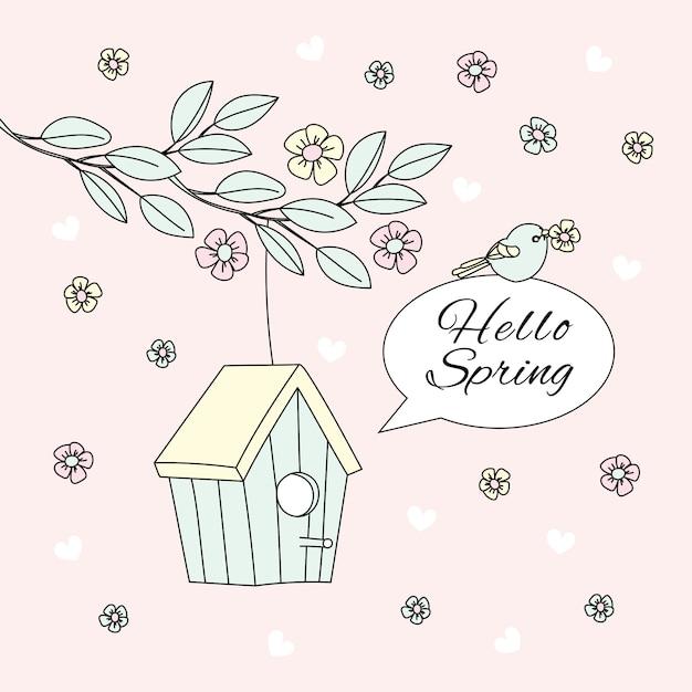 Hello spring bloom nature saison vector illustration set Vecteur Premium