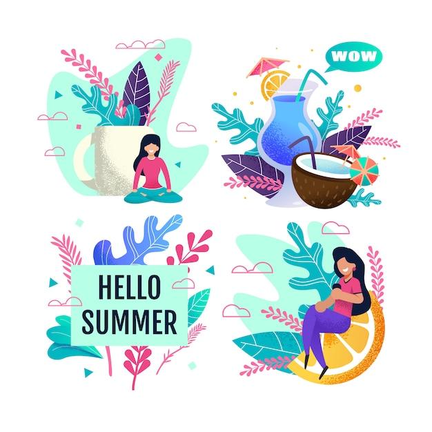 Hello summer advertisement set avec des personnes au repos Vecteur Premium