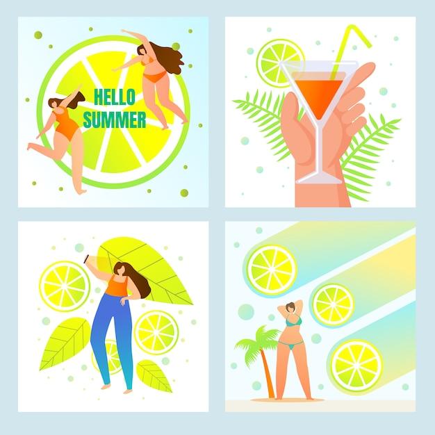 Hello summer, beach party, menu de boissons fraîches Vecteur Premium