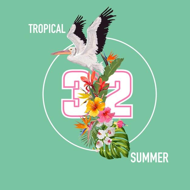 Hello summer design avec des plantes tropicales et des oiseaux Vecteur Premium