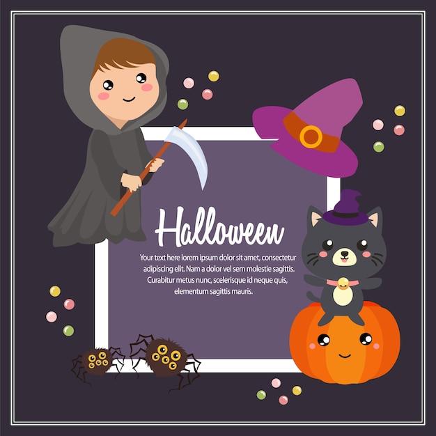Helloween grim reaper enfants costume texte carré Vecteur Premium