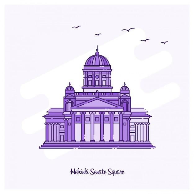Helsinki senate square landmark illustration vectorielle de ligne pointillée violette skyline Vecteur Premium