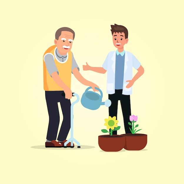 Hémiplégie âgée arrosant ses fleurs avec un thérapeute. Vecteur Premium