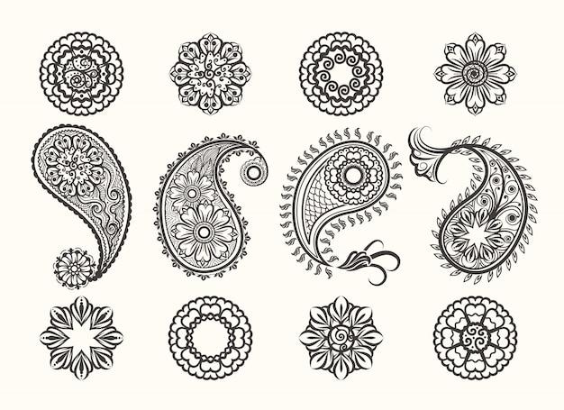 Henna tatoo paisley set d'icônes Vecteur Premium