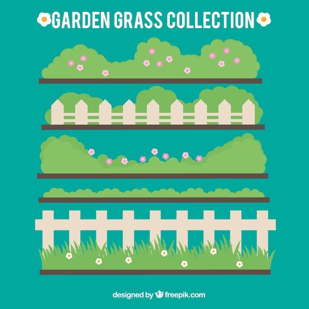 Herbe Jardin Mignon Avec Des Clôtures Vecteur gratuit