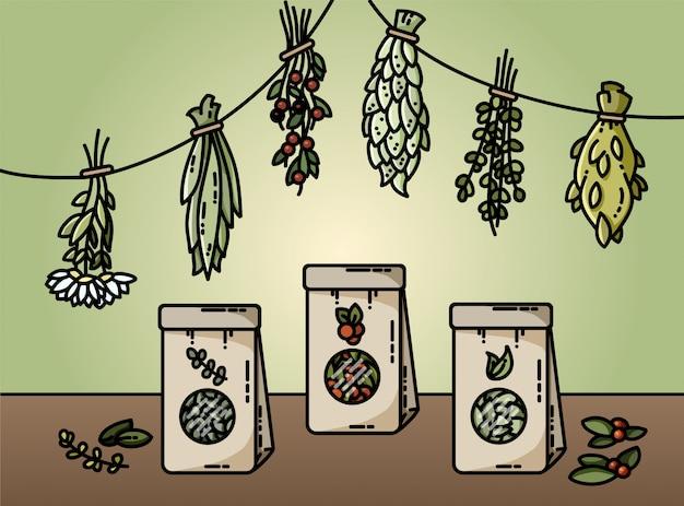 Herbes saines et illustration vectorielle de thé naturel style plat Vecteur Premium