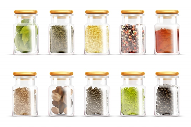 Herbes spices jars icon set Vecteur Premium