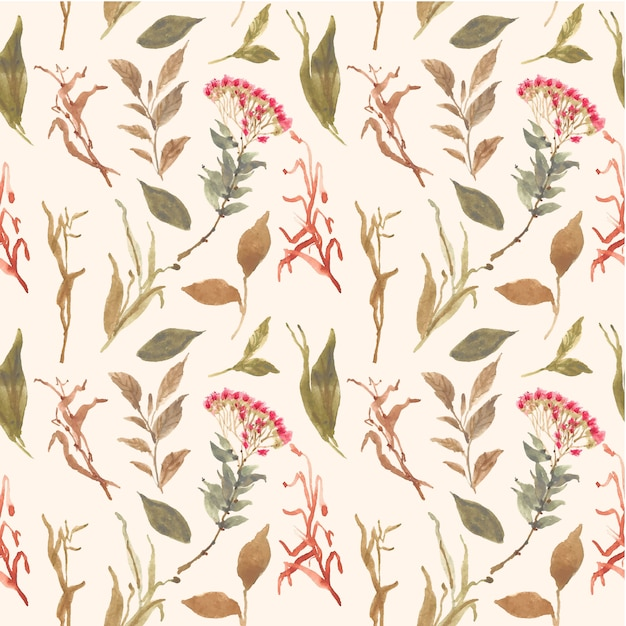 Herbier Floral Aquarelle Seamless Pattern Vecteur Premium