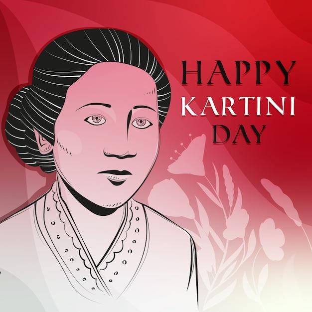 Héros Féminin Célébrant La Journée Kartini Vecteur gratuit
