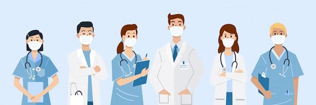 Héros De Première Ligne, Illustration De Médecins Et D'infirmières Portant Des Masques. Vecteur Premium