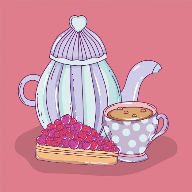 Heure du thé Vecteur Premium