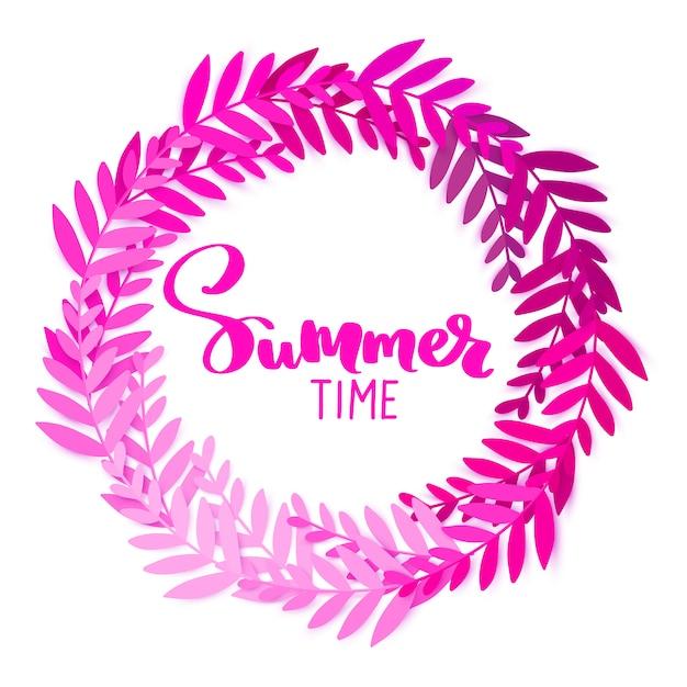 Heure d'été. cadre rond avec des feuilles. artisanat numérique. Vecteur Premium