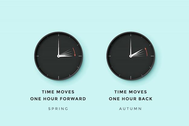 Heure D'été. Ensemble De L'heure De L'horloge Pour Le Printemps Avant, L'automne Arrière, L'heure D'été Vecteur Premium
