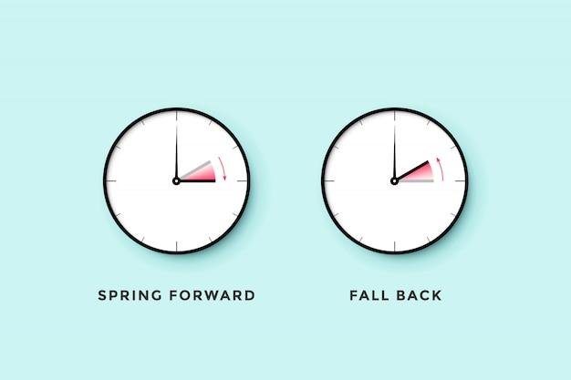 Heure D'été. Ensemble D'horloge Pour Le Printemps En Avant, L'automne En Arrière, L'heure D'été Vecteur Premium