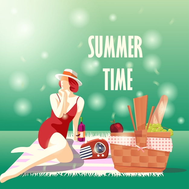 Heure d'été avec fille sur la nappe Vecteur Premium