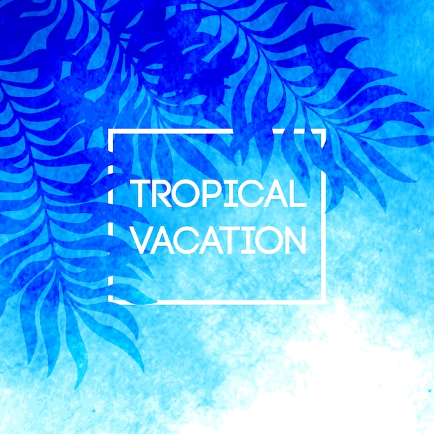 Heure d'été. illustration de feuilles de palmier tropical Vecteur Premium