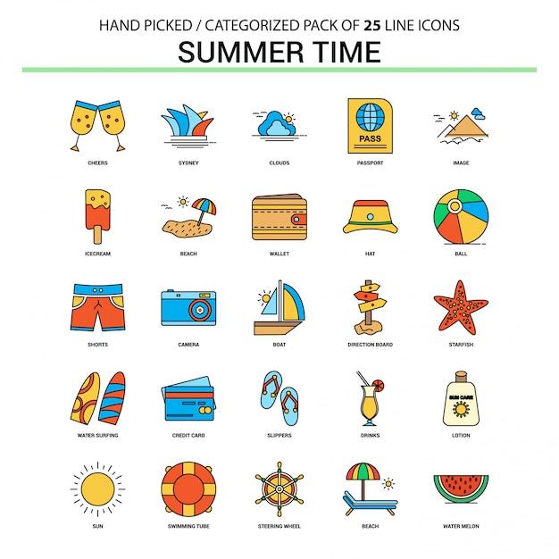 Heure d'été ligne plate icon set Vecteur Premium