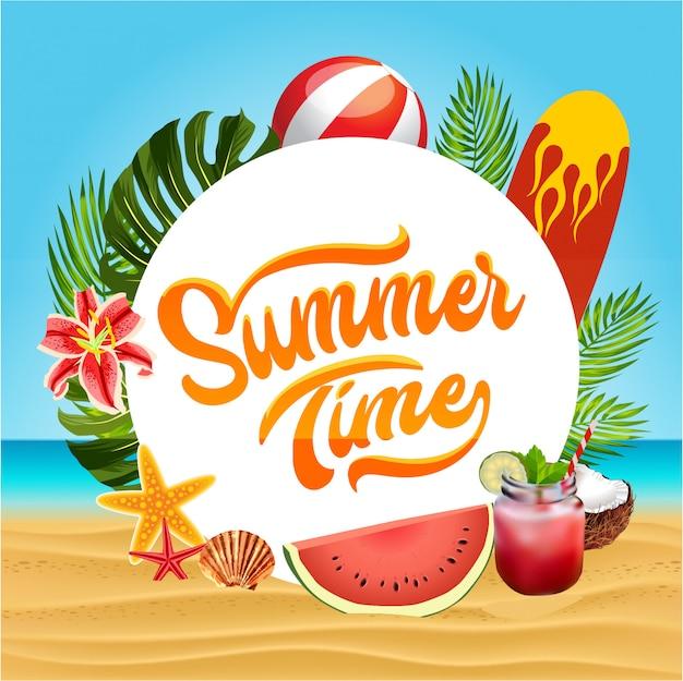 Heure d'été avec des planches de surf Vecteur Premium