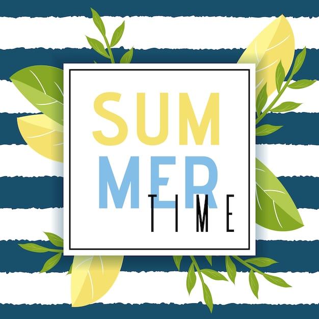 Heure d'été, voeux, dans, cadre, plat, illustration Vecteur Premium