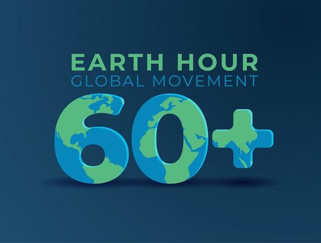 Heure de la terre heure de la journée internationale de sensibilisation. Vecteur Premium