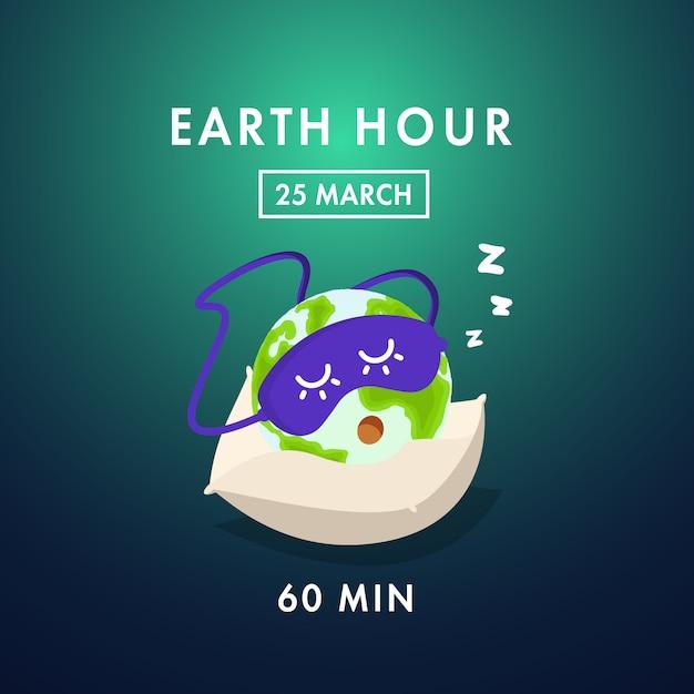 Heure de la terre jour Vecteur Premium