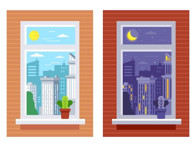 Heure De La Vue De La Fenêtre. Vue De La Fenêtre De Jour Et De Nuit. Vecteur Premium