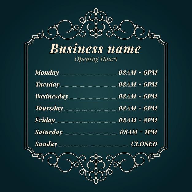 Heures D'ouverture Des Entreprises Vecteur gratuit