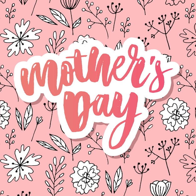 Heureuse bannière de typographie élégante fête des mères rose. Vecteur Premium
